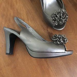 Pewter Metallic Sling Back High Heels